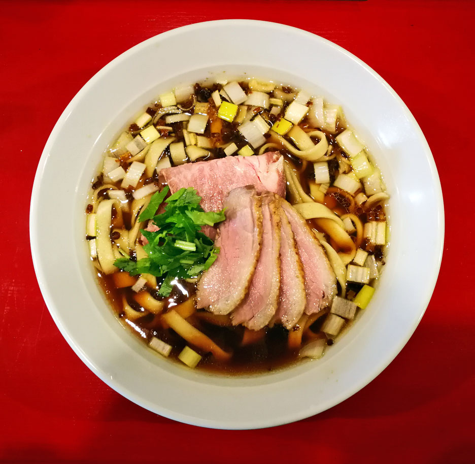 鴨醤油らーめん(極太麺)