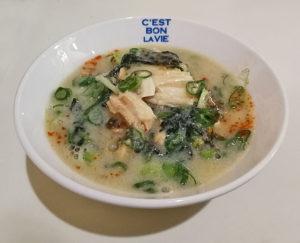 ピリ辛鶏ねぎ丼+スープ